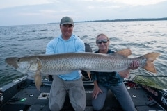 Kathy Strutz, Spring Grove, IL, 54 3/4-incher (first musky casting), Green Bay, with guide Doug Wegner.